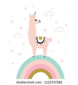 Cute unicorn llama (alpaca). Vector illustration.