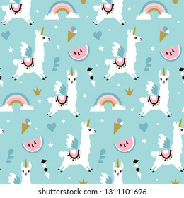 Cute unicorn llama (alpaca)seamless pattern. Vector illustration.