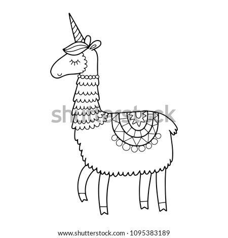 cute llama coloring pages Cute Unicorn Llama Horn Coloring Page Stock Vector (Royalty Free  cute llama coloring pages