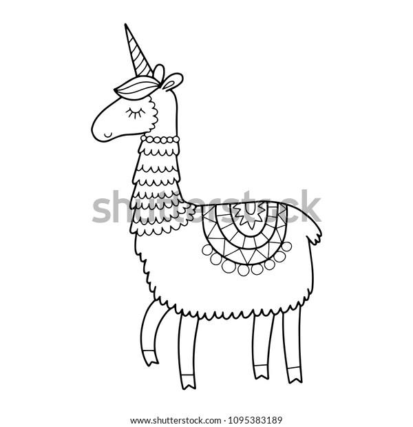 Cute Unicorn Llama Horn Coloring Page Stock Vector Royalty