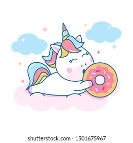 Cute unicorn lying down on cloud while holding donuts vector character illustration