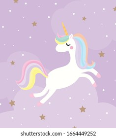 Cute unicorn magic flying in the sky with stars on purple background. for kids stuff, birthday card, posters, greeting card. vector