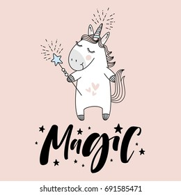 "cute unicorn with ""Magic"" hand lettering sign."