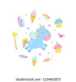 Cute unicorn and magical items vector illustration.