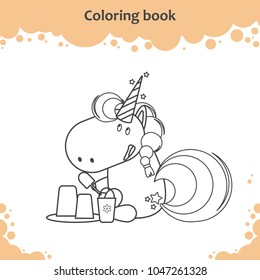 Cute unicorn makes sand castle on a beach. Coloring page for kids.