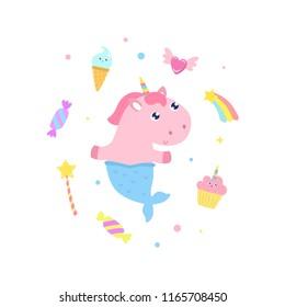 Cute unicorn mermaid and magical items vector illustration.