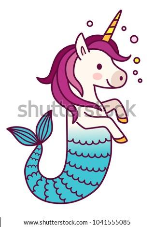 Cute Unicorn Mermaid Simple Vector Cartoon Stock Vector (Royalty ...