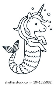 Cute unicorn mermaid vector coloring page cartoon illustration. Magical creature with unicorn head and body and fish tail. Dreaming, magic, believe in yourself, fairy tale mythical theme element