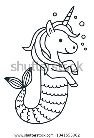 Cute Unicorn Mermaid Vector Coloring Page Stock Vector Royalty Free