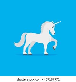 Cute unicorn on a blue background.