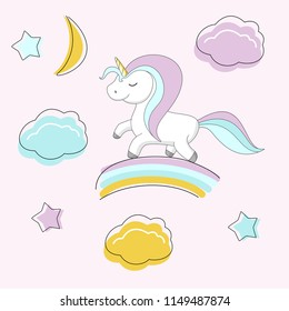 Cute unicorn is on the rainbow. Colorful vector illustration for design.