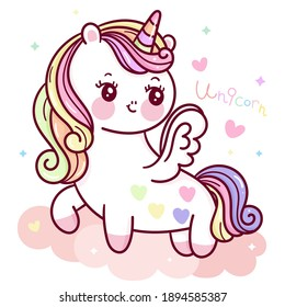 Cute Unicorn pegasus vector fly on sky with colorful heart pony cartoon kawaii animals pastel background Valentines day: Series fairy tale characters horse (flat Girly doodles). Perfect Nursery child.