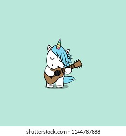 Cute unicorn playing guitar cartoon, vector illustration