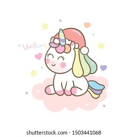 Cute Unicorn pony cartoon Christmas Character vector, magic sleeping time for sweet dream pastel color, Kawaii animal with star, Nursery decor: Illustration of fairytale horse in Flat style design.