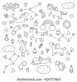 Cute unicorn and pony collection with magic items, rainbow, fairy wings, crystals, clouds, potion. Hand drawn line style. Vector doodles illustrations.