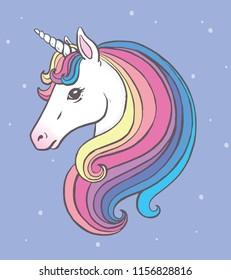 Cute unicorn portrait with beautiful rainbow mane. Vector illustration.