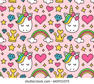 Cute unicorn, princess concept, girl beauty seamless pattern isolated on pink background. Vector cartoon design. Magic unicorn, fairy tale, heart, rainbow, crown, stars, diamond, Pop style