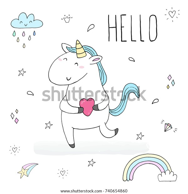 Cute Unicorn Print Kids Hello Card Stock Vector (Royalty Free) 740654860