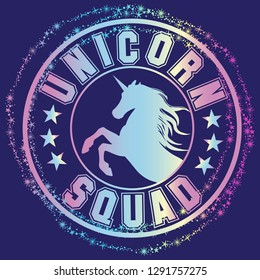 cute unicorn print. t shirt design with original  holographic calligraphic text .Kids magic slogan, for clothes, banner, girls, women, child. hand written text Unicorn squad