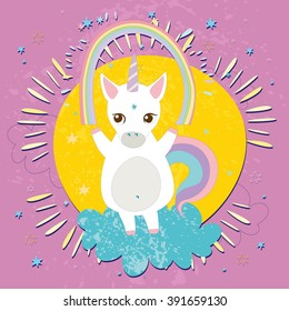cute unicorn with a rainbow in the clouds. vector illustration. on the background of the sun