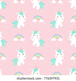 Cute unicorn with rainbow and dot seamless pattern on pink background.