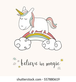 Cute unicorn and rainbow greeting card. Magical unicorn vector poster.