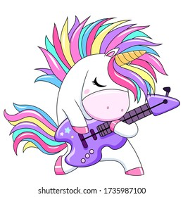 Cute unicorn with rainbow hair and guitar. Rockstar poster. Vector white unicorn kids cartoon illustration. Little pony character/ magic horse print design