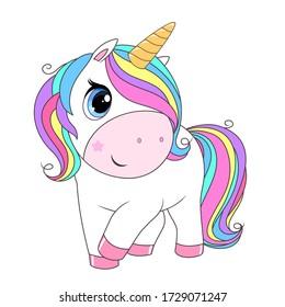Cute unicorn with rainbow hair. Vector cartoon illustration