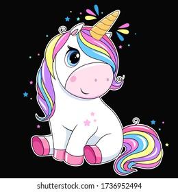 Cute unicorn with rainbow hair. Vector white unicorn kids cartoon illustration. Little pony character/ magic horse print design