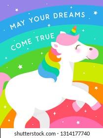 Cute unicorn and rainbow illustration for birthday greeting card