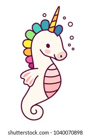 Cute unicorn sea horse vector cartoon illustration.  Simple flat line doodle icon contemporary style design element isolated on white. Magical creatures, fantasy, fairy, dreams theme.