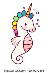 Cute unicorn sea horse vector cartoon illustration.  Simple flat line doodle icon contemporary style design element isolated on white. Magical creatures, fantasy, fairy, dreams theme.