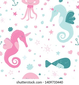 Cute unicorn seahorse seamless vector pattern. Pink and blue sea inhabitants: horsefishes unicorn and princess, jelly fish and fish and some sea elements like shells, bubbles, stars, anchors.