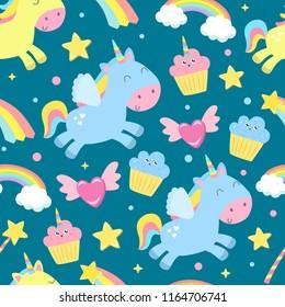 Cute unicorn seamless background. Flat design.