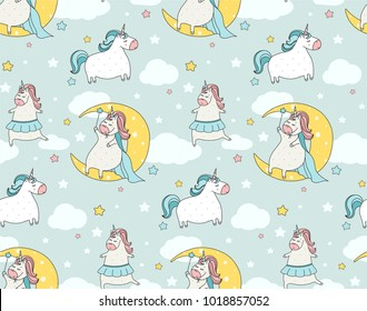 Cute  unicorn seamless pattern. Cartoon illustration. Doodle art of magic creature. Can be used for baby clothes, wallpaper, kids wear, wrapping paper