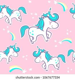 Cute Unicorn seamless pattern vector.