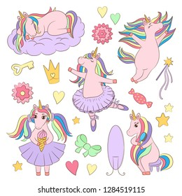 Cute unicorn set, ballerina girl character, different poses, emotions, baby toddler girlish vector illustration, line art for children garment print, game, book, toy packaging template, kids logo.
