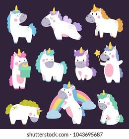 Cute unicorn set hand drawn cartoon. Vector Illustration design for cards, posters, t-shirts, invitations, baby shower, birthday, room decor.