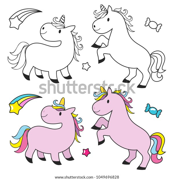 - Cute Unicorn Set Kids Coloring Book Stock Vector (Royalty Free) 1049696828