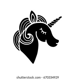 Cute unicorn silhouette. Isolated on white background. Vector.