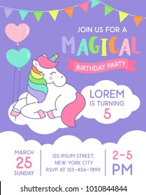 Cute unicorn sitting on the cloud illustration for birthday party invitation card template