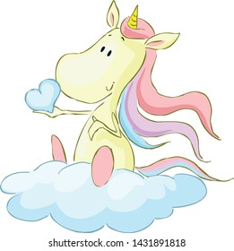 Cute Unicorn Sitting on Cloud, Holding Heart from Glouds - Vector Illustration