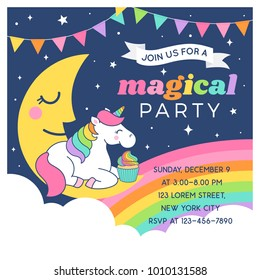 Cute unicorn sitting on the moon with cupcake illustration for party invitation card template