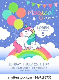 Cute unicorn sitting on the rainbow with balloons for party invitation card template.