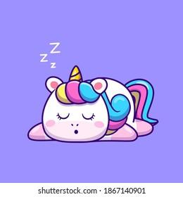 Cute Unicorn Sleeping Cartoon Vector Icon Illustration. Animal Nature Icon Concept Isolated Premium Vector. Flat Cartoon Style