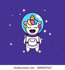 Cute unicorn in spacesuit costume flying