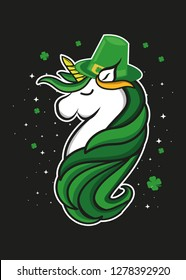 cute unicorn st patrick day leprechaun hat shamrock