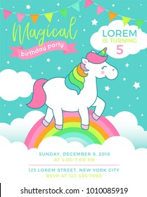 Cute unicorn standing on the rainbow illustration for party invitation card design template