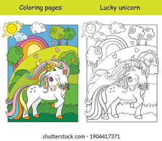 Cute unicorn standing on the summer blooming meadow. Coloring book page wih colored template. Vector cartoon illustration isolated on white background.For coloring book, preschool education,print,game