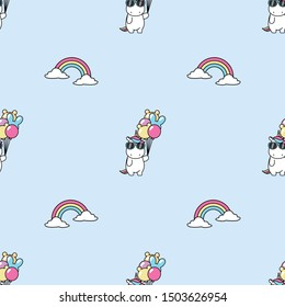 Cute unicorn with sunglasses holding balloons and rainbow seamless pattern, vector illustration